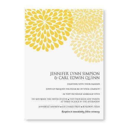 Wedding Invitation Cards Yellow by Diyweddingtemplates Chrysanthemum Yellow Wedding