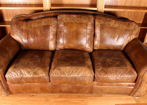 plush leather couches plush leather sofa with western appeal ebth