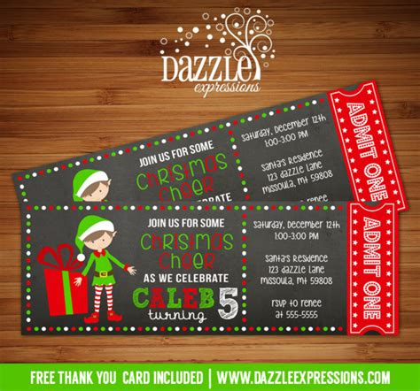 printable tickets for christmas party printable elf chalkboard ticket birthday invitation