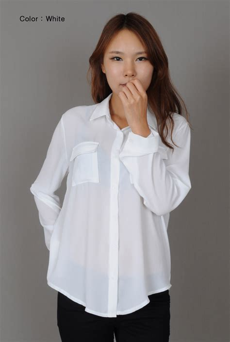 White Blouse women s white chiffon blouse fashion ql