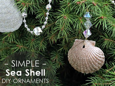 home made christmas decoration glittery seashell ornaments diy mod podge rocks