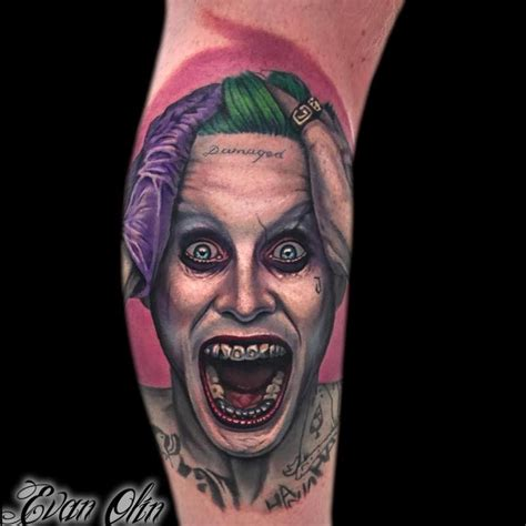 joker tattoo portrait jared leto joker portrait tattoo by evan olin tattoonow