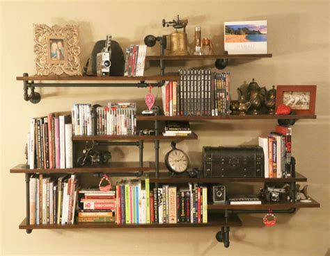 industrial pipe shelving built in