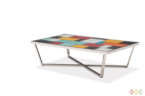 kube upholstered multi color coffee table w