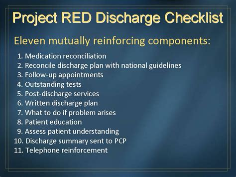 discharge planning from hospital to home 28 project red discharge checklist ahrq archive