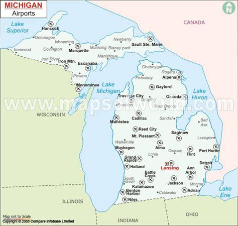 michigan in world map map of michigan airports michigan map