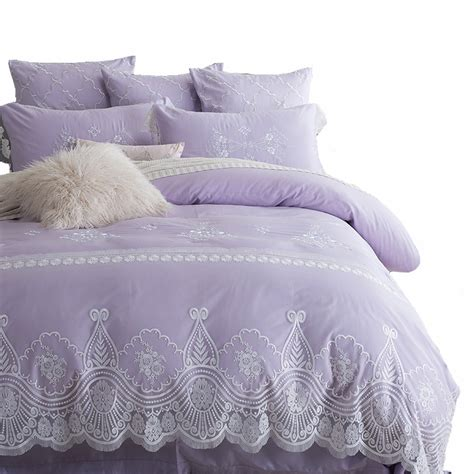embroidered coverlet aliexpress com buy light purple lace embroidered bedding