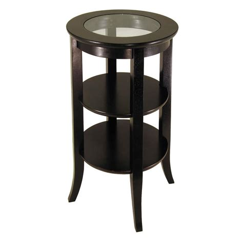 cappuccino round wood accent table with glass top ebay winsome wood genoa espresso glass top end table 92318