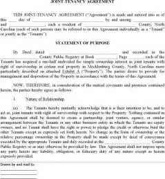 download north carolina joint tenant agreement form for