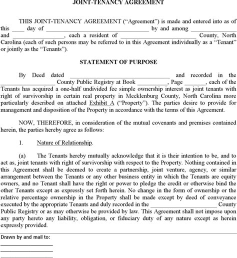 joint tenancy agreement template carolina joint tenant agreement form for