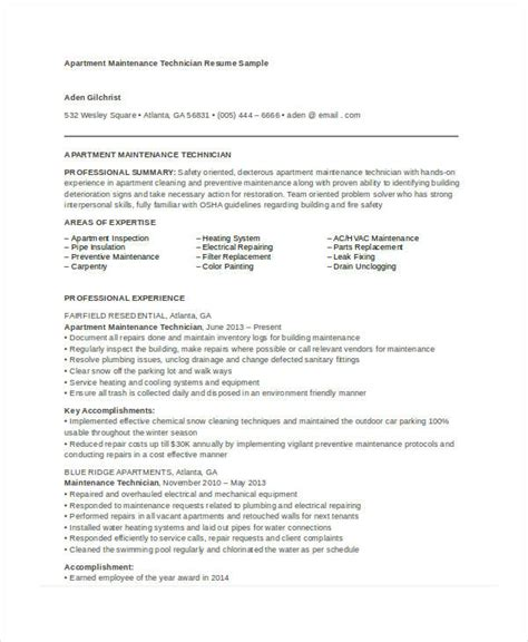 apartment maintenance technician resume sles best of apartment maintenance technician resume