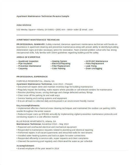 Sample Resume For Maintenance Technician