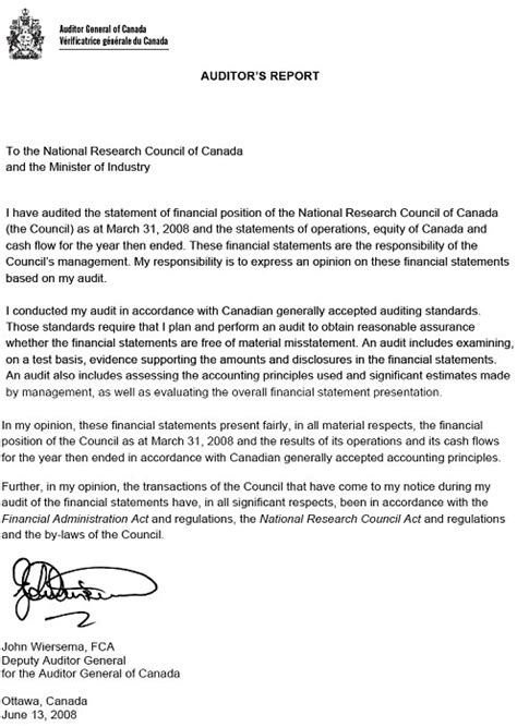 sle of qualified opinion audit report archived national research council canada 3 4