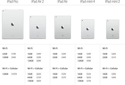ipad air  ipad mini storage size