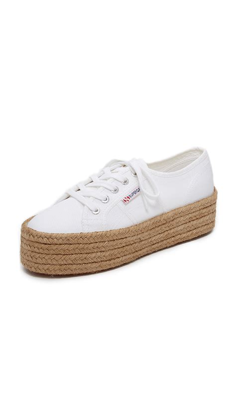 platform white sneakers superga 2790 platform espadrille sneakers in white lyst