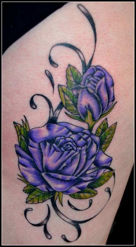 purple roses tattoos two purple roses