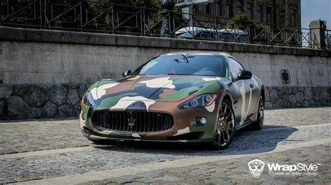maserati wrapped maserati granturismo s gets camo wrap from wrapstyle
