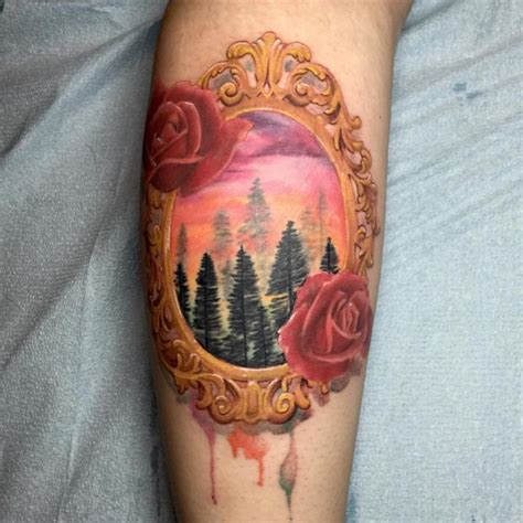 iron rose tattoo framed watercolor forest by drew r tattoonow
