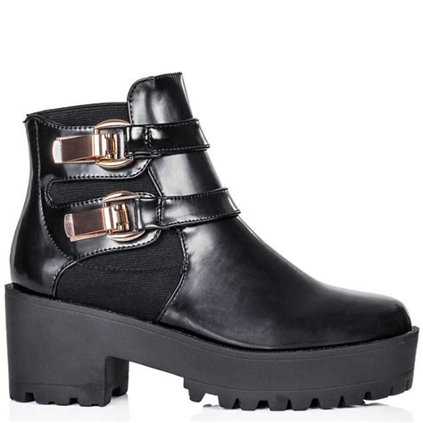 black flat shoes with gold buckle freya black patent cleated sole gold buckle flat boots