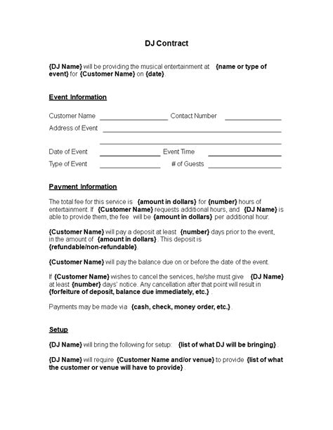 Entertainment Contracts Templates by Free Musical Entertainment Contract Templates At