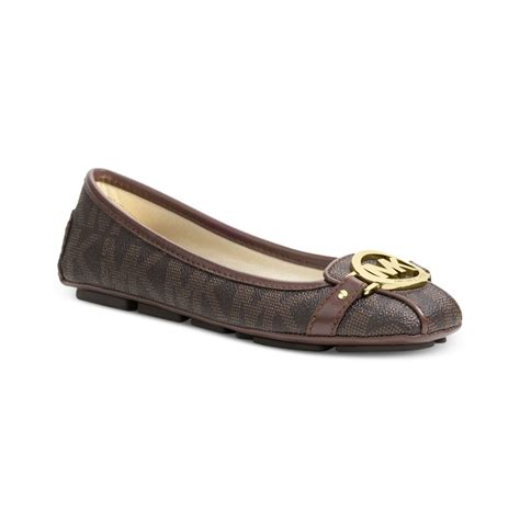 mk flats shoes michael kors michael fulton moc logo flats in brown brown