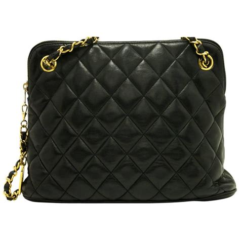 Black Quilted Chanel Bag With Chain by Chanel Chain Shoulder Bag Black Quilted Zippered Lambskin