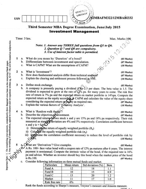 2015 16 Mba Solved Paper by 3rd Semester Mba June 2015 Question Papers