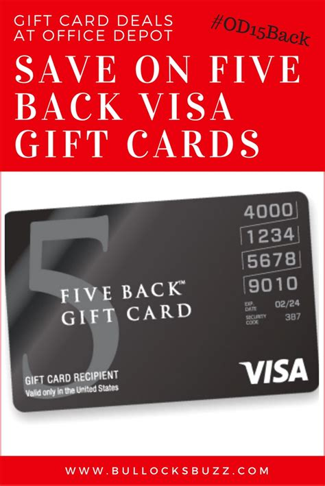 15 Dollar Visa Gift Card - save on five back visa gift cards at office depot od15back
