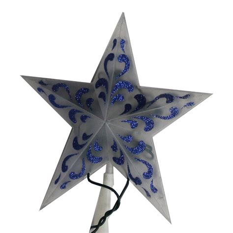 trim a home 174 led glitter tree topper star blue