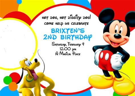 mickey mouse clubhouse templates mickey mouse clubhouse invitation digital file by