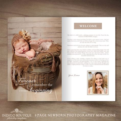 newborn photography magazine template client welcome guide