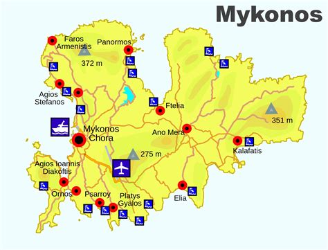 mykonos map mykonos beaches map