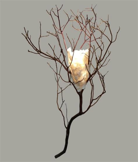 Twig Wall Sconce Twig Sconce With Handmade Paper Shade Rustic Artistry