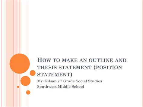 how do i make a thesis statement ppt how to make an outline and thesis statement