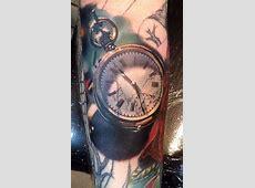 34 Superb Pocket Watch Tattoo Designs - TattooBlend Naturalistic Design Drawing