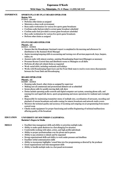 Board Operator Cover Letter by Audio Operator Sle Resume Account Manager Sales Sle Resume