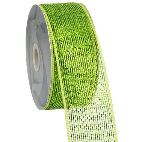Poly Apple 2 5 quot poly mesh ribbon metallic apple moss rs200449