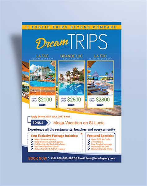 free travel flyer templates free travel agency vacation flyer design template