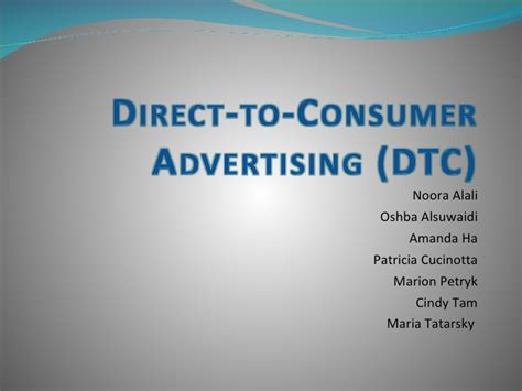 direct to consumer pharmaceutical advertising direct to consumer advertising presentation
