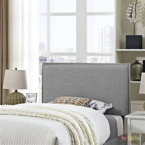 Gray Upholstered Headboard by Camille Seam Upholstered Fabric Headboard