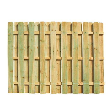 6 ft h x 8 ft w pressure treated pine shadowbox fence