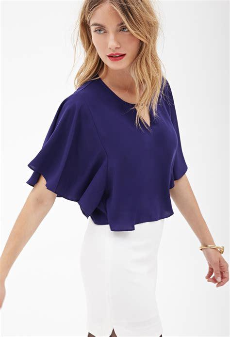Forever21 Flutter Sleeve Blouse lyst forever 21 contemporary flutter sleeve crepe blouse in purple