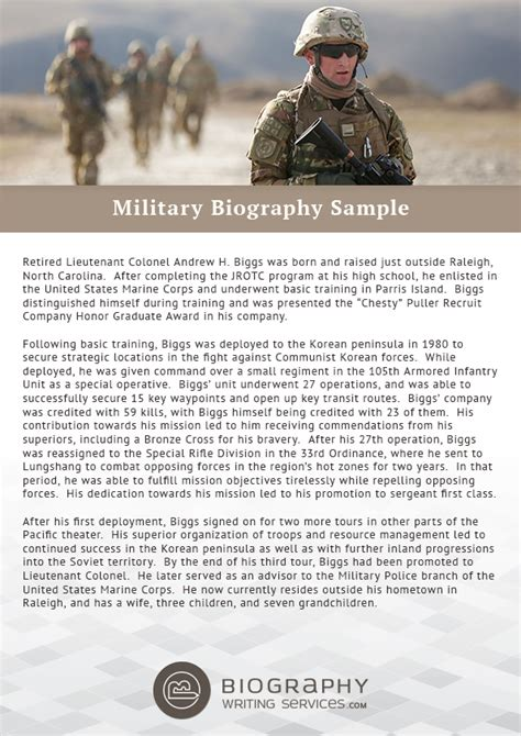 army biography format http www biographywritingservices com military biography