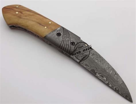 Handmade Damascus Steel Knives - damascus folding liner lock knife custom handmade damascus