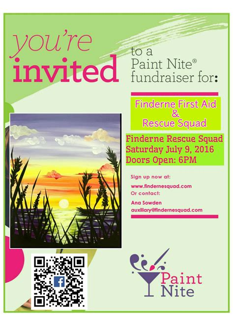 paint nite boston fundraiser finderne aid and rescue squad paint nite