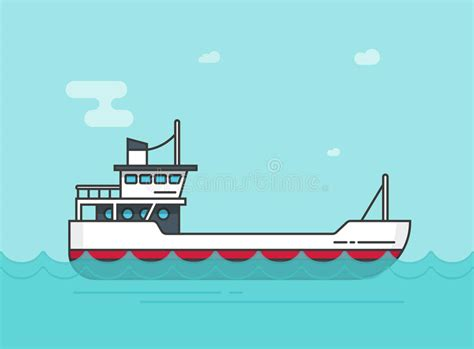 cartoon boat on the sea ship empty vector illustration flat cartoon boat sailing