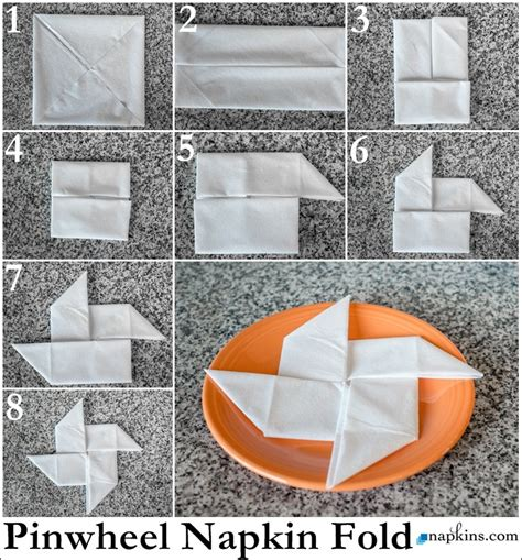 Table Napkin Origami - pinwheel napkin fold how to fold a napkin