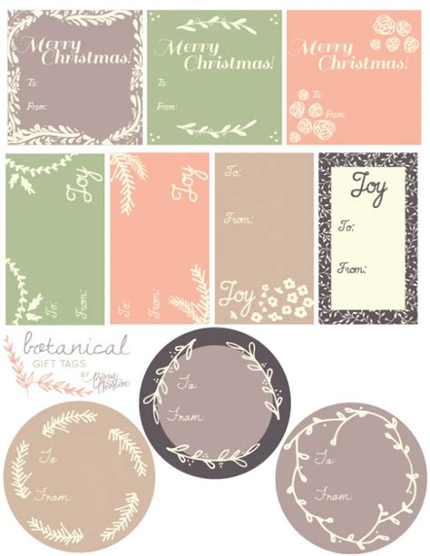 gift tag design template printable botanical labels for gifts free