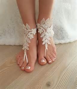 Frame Foto Sandal ivory barefoot lace sandals wedding anklet