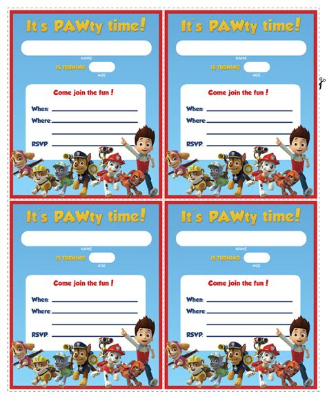 Eos Birthday Card Free Template 4 Per Page by Paw Patrol Birthday
